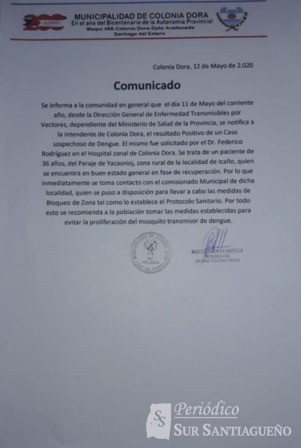 Dengue en Colonia Dora